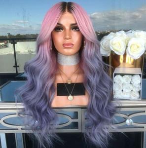 Gradiente Rosa Viola riccia parrucca sintetica delle donne Capelli mossi termoresistente parrucca UK