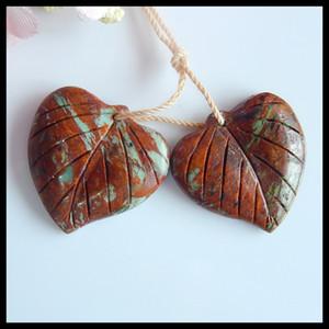 Regalo de cumpleaños, joyería de moda, piedras preciosas naturales talladas hoja Chrysocolla moda mujeres pendiente par, 24x24x5mm, 8 g