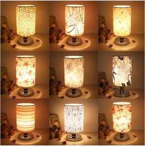 Candeeiros De Mesa LED Para O Quarto Sala de estar Lâmpada de Cabeceira de Tecido E27 Lâmpada de Cama Art Deco De Aço Inoxidável Lampe De Chevet De Chambre