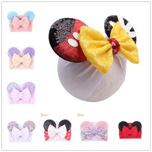 Menina crianças Mermaid Sequins Cabelo Orelhas banda Bow Headwrap Hairband Cabelo faísca Dots Wraps Velvet Headband Chefe Hoop bling do Cabelo Acessório E22506