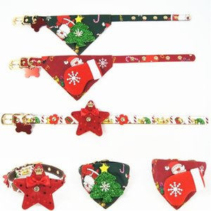 Meetee Cloth Pets Cane Saliva Collar Bling Supplies Cat Collars Albero di Natale Stella all'ingrosso Cuccioli a scomparsa in pelle