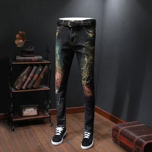High street Men Jean Painting Hip Hop Cargo Trousers Hole Denim Jeans Men Designer Jeans
