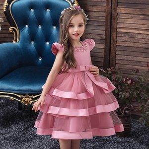 Girl's Dress Short Sleeve Perform Costumes Children Dress Beaded Cake Dress Princess Flower Children Dresses