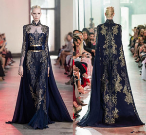 Elie Saab luxo Vestidos com filme 2020 Gold Lace apliques Formal Runway Prom Vestidos Moda vestido de festa Rapidez