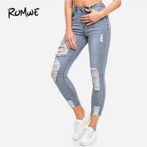 Romwe Strappato Bleach Wash Skinny Jeans 2019 Nuovo Design Mid Waist Solid Pantaloni da donna Casual Stylish Blu Zipper Fly Pans Y190430