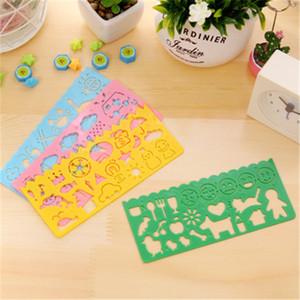 Herramienta de dibujo de bricolaje Corea Papelería de caramelo Color Ruler Plástico opppsed Dibujo Plantilla para niños Bebé Estudiantes