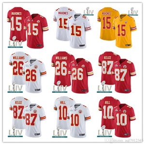 Hommes 2020 15 Patrick Mahomes Super Bowl LIV Jersey 87 Travis Kelce 26 Damien Williams Tyrann couleur Mathieu rush maillot de football américain nouveau