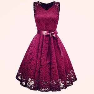 Vintage vestido de encaje de pista del verano del vestido Vestido correa del arco V-cuello de la Parte A-line Cami Vestidos elegantes Vetement Femme 2019 Y190426