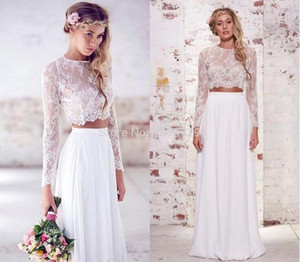 2020 Spring Two Pieces Crop Top Beach Bohemian Wedding Dresses Chiffon Ruched Floor Length Wedding Gowns Lace Long Sleeve Bridal Dress