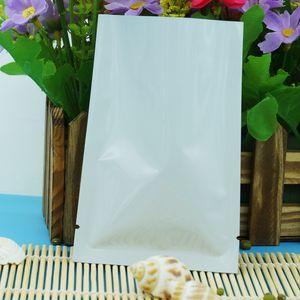 12x18CM, 200pcs / paket X beyaz alüminyum folyo düz torbalar toptan alüminyumlu Mylar kuru meyve paketleme ping cep, ısı üst açık sızdırmazlık torba