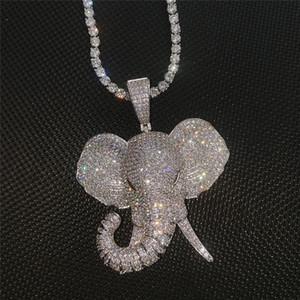 حار 3D الحيوان الفيل قلادة مثلج خارج الزركون الكامل مع التنس سلسلة رجال بلينغ مجوهرات