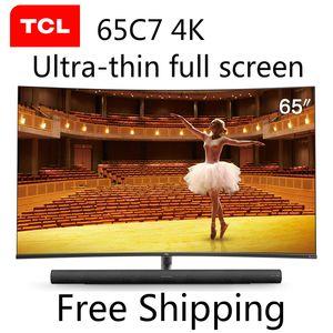 TCL 65C7 65 pollici curvo TV 4K TV LCD a LED Ultra HD 136% di alta gamma di colori AI intelligenza artificiale discorso interfaccia AV HDMI RF USB TV