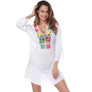 Mode New Femmes Ruffle Manches longues Floral évider Chemisier blanc longues en coton shirt Vêtements pour femmes