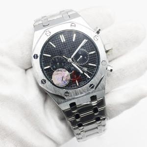Hot Sale Mens Black Steel relógio automático mecânico de prata inoxidável mostrador transparente de vidro tampa traseira Homens Relógios Masculino Relógio de pulso