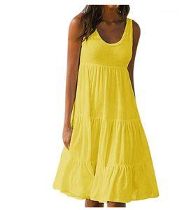 Vestiti dalle donne Sumemr Abiti Solid Color Designer delle donne da Fashoinavble scollo senza maniche