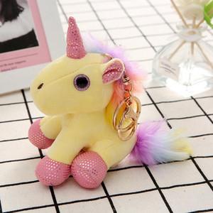 Colorful Unicorn peluche portachiavi Cute Cartoon peluche Plush Unicorn Toy Un piccolo ciondolo Bag Zaino Accessori TTA2084-2
