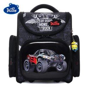 Delune 2019 Mochilas escolares con patrón de coche para niño niñas mochilas de dibujos animados niños mochila ortopédica flor primaria mochila infantil