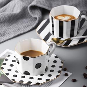 Estilo británico 9inch octagonales placa de cerámica Negro de punto blanco a rayas café Vajilla Platos Platos Tarde juego de té cocina del hogar