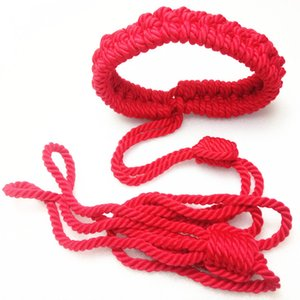 Quality BDSM Bondage Collar wtih Leash Dog Cosplay Nylon Sexual Restraints Sex Toys for Women Red GN252001241-JD