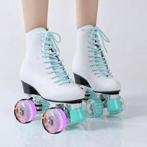 Novo estilo adulto com duas fileiras de quatro rodas kraft PU rolo de flash feminino de patinação adultos patins barato Skate Shoes
