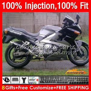 Injection Pour KAWASAKI ZZR400 ZZR400 99 00 01 02 03 04 05 06 07 argent noir 85HC25 ZZR 400 1999 2000 2001 2002 2003 2004 2005 2007 Carénage