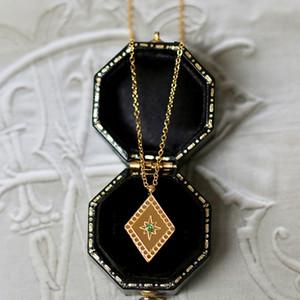 Verde zircone oro Rhombus You are my sunshine Ciondolo collana di lusso costoso dei monili della catena clavicola collana della donna