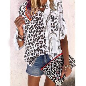 Düğme Moda ile Tasarımcı Leopard Baskı Gömlek Kasetli Bluzlar Womens Yaka Giyim Kadın Casual Kontrast Renk Tops Standı