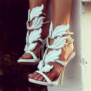 Kardashian Luxus Frauen Wildleder Cruel Summer Sandalen Poliert Golden Leaf Winged Gladiator Sandalen High Heels Schuhe Mit Original Box