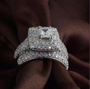 Venta al por mayor fina real corte princesa 14K oro blanco llenado completo Topaz Gema Diamante simulado Mujeres Anillo de compromiso de boda