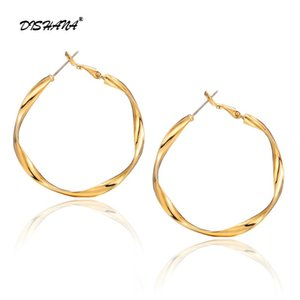 DISHANA Simple Gold color Big Hoop Earring For Women Fashion Jewelry Accessories Large Circle Round Hoop Earrings E0778