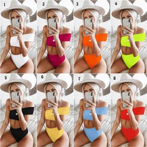 Katı Düzensiz Bir Omuz Bikini 8 Renkler Mayo Kadın Bandaj Bölünmüş Yüksek Bel Mayo Mayo Beachwear C6531