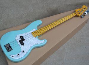 Blue 4 corde per basso elettrico con Bianco Perlato Battipenna, giallo manico in acero, può essere personalizzato come Richiesta