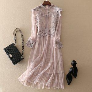 2019 hohe qualität frauen elegante spitze dress casual langarm plus größe frauen kleidung weibliche a line kleider sh190702
