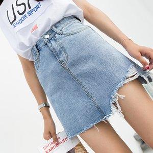 INS yeni yaz kadın yüksek Bel kısa yıkanmış out denim etekler püskül jean jupe Mini yıpranmış-kenar hem