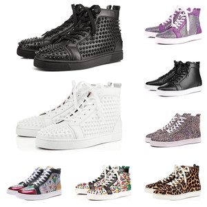 Nuevo diseñador de marca Red Bottop Spded Spikes Flats zapatos para hombres mujeres negro blanco azul Partido amantes de cuero genuino casual zapatillas de deporte
