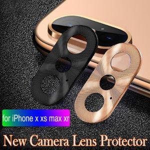 Luxus-Kamera-Schutz-Kreis Smart-Phone-Metallrückseiten-Kamera-Objektiv-Schutz-Fall-Abdeckung Ring Stoßdämpfer für iphone X / XR / XS / XS Max