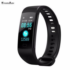 BOUNABAY pressão Sangue Inteligente Pulseira de relógio para as mulheres relógios das senhoras relógio Bluetooth à prova d 'água android ios mulher tela sensível ao toque Y18110310
