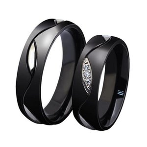 Fashion Design Purity Rings,Elegant Titanium Steel Crystal Black Couple Ring Valentine's Day Gift for Women Men