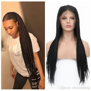 180% densidad de negro trenzas micro sintéticas del frente del cordón de trenzar Estilos Trenzas La mitad de la caja trenzada pelucas de pelo sintético para Mujeres de África