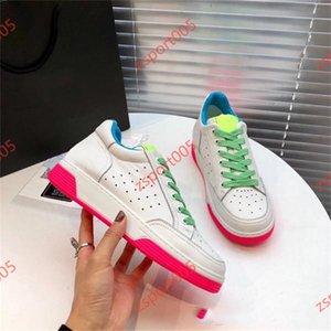Chanel hococal 2020 Yeni Kadın Dana derisi Eğitmenler Moda Beyaz Fuşya Patchwork Renkler Gerçek Deri Dantel-up Sneaker Kızlar Parti Koşu Ayakkabıları