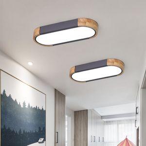 Scandinavian teto Longo iluminação moderna minimalista Entracne Aisle Lamp Criativo madeira maciça Round Corner Designer luz de teto