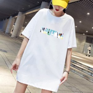 Women's T-Shirts 2020 New Womens Letter Print Crew Neck T-shirt Casual Women Breathable Dress Style Tee 2 Color Size M-4XL
