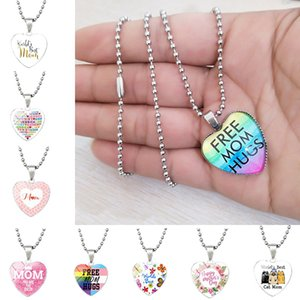 Love You MOM Necklace Free mom hugs Glass Heart Shape jewelry Pendants Best Mom Mother Day Gift Wholesale