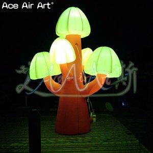levaram brilhante chão decoração balão cogumelos infláveis, belas árvores plantas levaram modelo de cogumelos com luzes dentro para venda