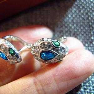 progettista nuovo argento 925 zircone cubi blu diamanti di cristallo di pietra piccoli orecchini serpente 18K partito placcato oro per le donne