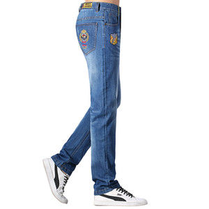 2020 Summer Thin Cotton Stretch Loose Men Jeans Embroidery Design Straight Casual Fashion Denim Jeans Soften Hot sell 42