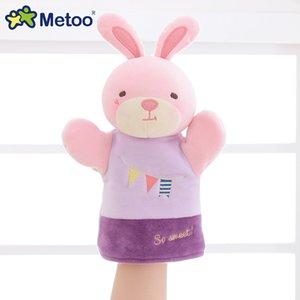 21019 popüler Peluş Pembe Tavşan Oyuncak Karikatür Peluş Oyuncak El Puppets çocuk oyuncakları Noel hediyeleri