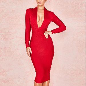 새로운 깊은 V 넥 여성 붕대 드레스 전체 슬리브 연예인 Bodycon 드레스 섹시한 클럽 Vestidos 저녁 파티 드레스