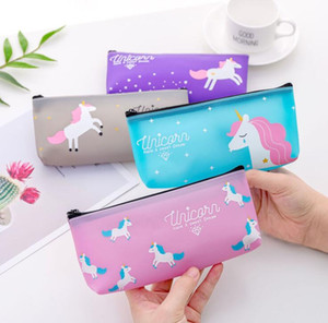 Cute Unicorn Silicone PVC Pencil Bag Case Stationery Storage Organizer Bag School Office Supply Candy colors