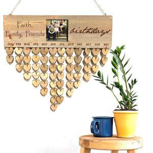 DIY Calendário Board Pingentes Photo Frame Esculpido Text Message Board Ano Novo Home Decor Hanging lembrete de aniversário Calendário de madeira